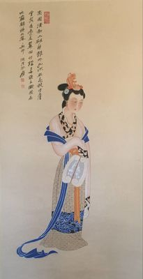 Hand painted large scroll painting after Zhang Daqian -《张大千-仕女》 - China - late 20th century