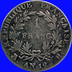 France - 1 Franc An 12 H (La Rochelle) - First Consul Bonaparte
