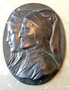 A bronze plaque Dante and Beatrice in profile