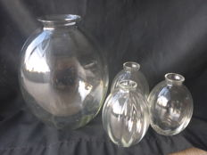 A.D. Copier - 4 optic glass vases from the H-collection
