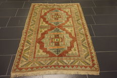 Hand-knotted Turkish oriental carpet Kars Kazak wool natural colours 127 x 170