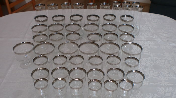 54 glasses with Platinum rim, THOMAS glass, very good condition
