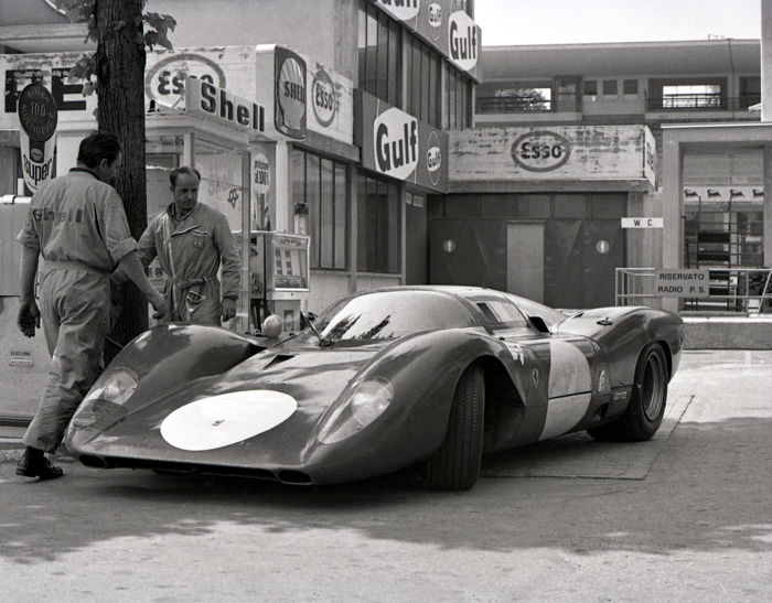 2 x 1967 Monza Ferrari P4 at Petrol Station and Monaco Grand prix Bandini Photograph 54cm x44cm