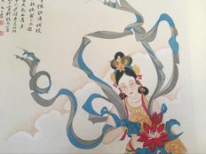 Hand painted large scroll painting after Zhang Daqian -《张大千-天女散花》 - China - late 20th century