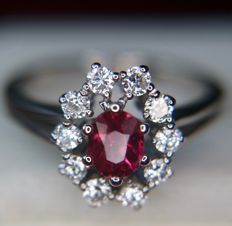 Exquisite vintage 18Kt. white gold high quality ring with a 0.75ct superior clear Ruby enchanted by 10 Brilliant cut quality Diamonds (F/VVS1) of 0.50 ct in an excellent condition -