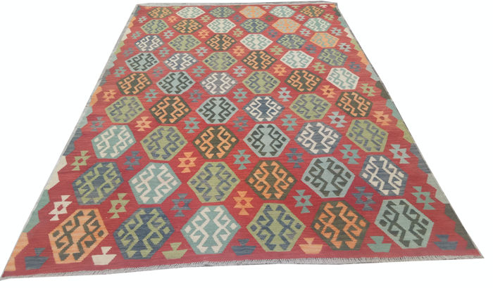 Double Face New Afghan Oriental Hand Woven Veg Dyes Kelim Large Area Rug 301 cm x 204 cm