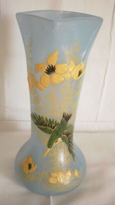 Legras - Baluster vase made of blown glass, decorated with gerberas and bird