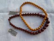 Two handmade lucite necklaces by the maison Baverel