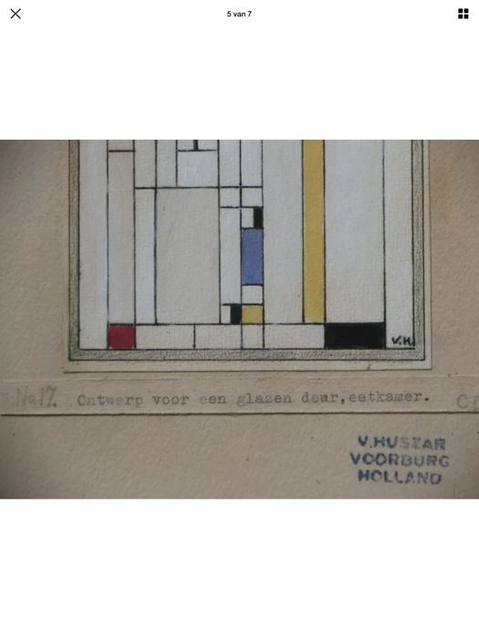 Vilmos Huszar - Design for a stained glass door - Catawiki