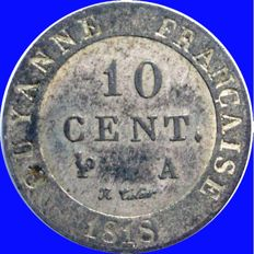 French Guiana – 10 Centimes 1818 A (Paris) – Louis XVIII – Billon