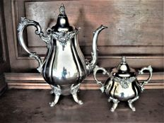 coffeepot + sugar bowl, silver plated metal, American, Wallace, 20th century