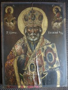 Russian icon (early 19th) - The St. Nicholas (40 x 30,5 cm)