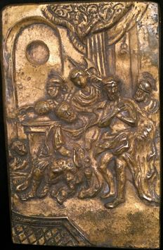 "Bronze plaque, ""Christ at the column"", early 18th century"