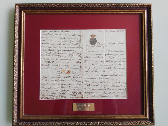 Queen Isabella II of Borbón (Spain) - Original signed, handwritten letter - 1888