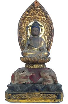 Very old signed gilded wooden statue of Fugen Bodhisattva on top of Elephant 普賢菩薩 / Samantabhadra समन्तभद्र - Japan - ca. 1800