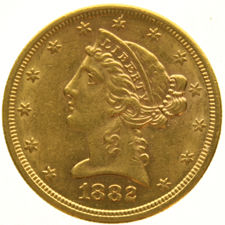United States - 5 dollars 1882S  'Coronet Head' - Gold