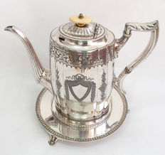 Fine Quality Antique Silver Plated Tall Teapot With Stand - Mappin & Webb, England Late 19th Century