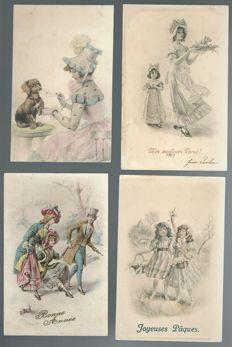 140 super postcards, to be sorted out, all sort of illustrators, M.M.Vienne, Angels, various complete series, romances, Viennese, children, women wearing hats, etc....