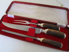Silver Plate & Stag Horn Antler Handled Carving Set, Francis Howard Ltd, Sheffield, England, ca. 1950.