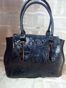 Leather shoulder bag by Ruga, floral print – Florence – Italy.