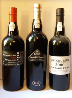 2000 Vintage Port Cockburn's & 2000 Vintage Port Cockburn's Quinta dos Canais & 2004 Vintage Port Dow's Quinta Senhora da Ribeira - 3 bottles in total