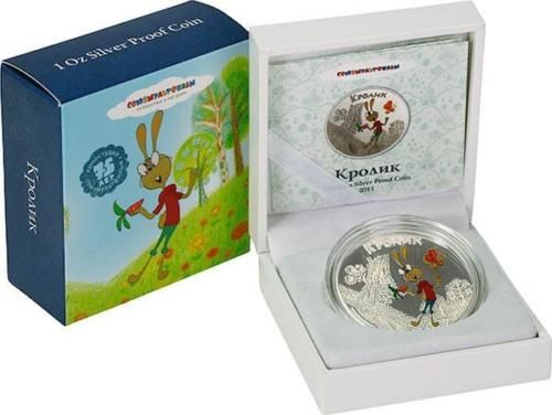 Cook Islands - 5 Dollars 2011 'Soyuzmultfilm Winnie-the-Pooh Rabbit' - 1 oz silver