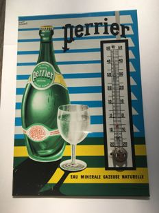 Plate/advertising thermometer, printed sheet metal, Perrier, c.1960