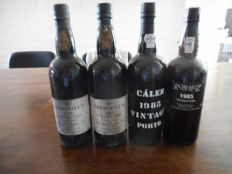 1985 Vintage Port: 2x Churchill's & 1x Calem & 1x Romariz - 4 bottles in total