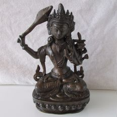 Bronze statue of Manjushri - Nepal - Second half of 20th century