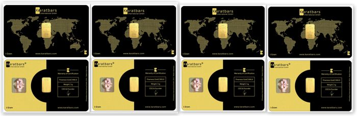 4 g of 999.9 Nadir Gold - 4 Gold Cards - CLASSIC EDITION - LBMA certificate - Karatbars Int. GmbH - Germany