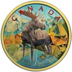 Canada - 5 Dollars 2017 Maple Leaf 'Moose' colored - 1 oz silver