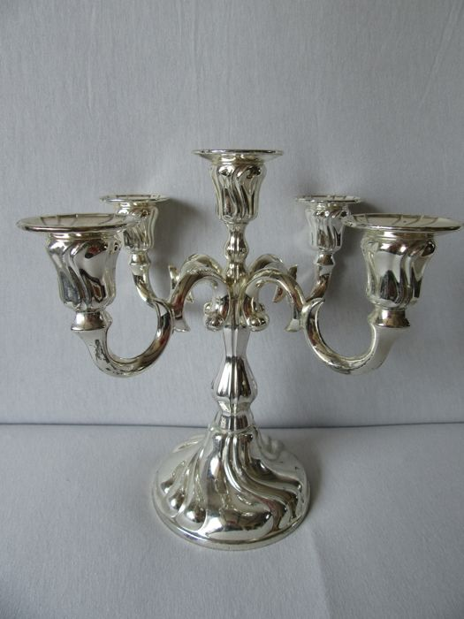 "Silver plated German five Light candle stand by "" Wilhelm Quist"""