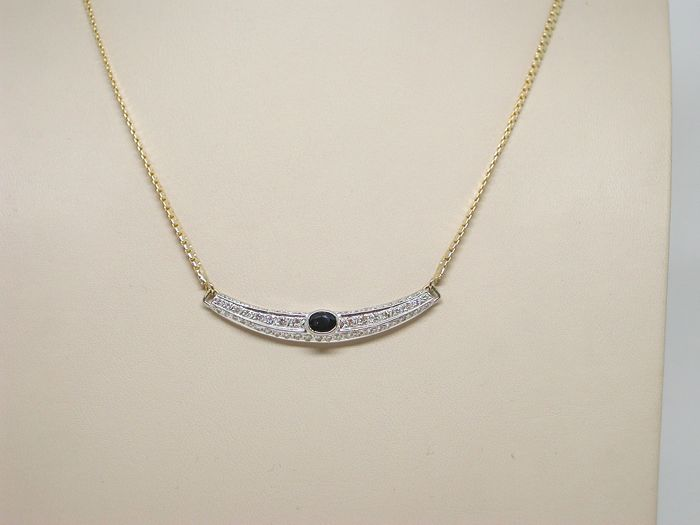 18 kt. Bicolour - Necklace - 2.50 ct Diamond - Sapphire