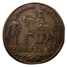 Germany (Nuremberg) - Purim Token Copper Rechnungspfennig of Ester & Haman (c. 1590) by Hans Krauwinkel