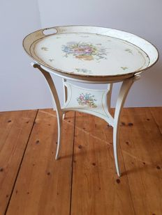 Hand-painted side table with metal top - France - 1930/40