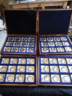 European Union - 4 cases with 48 gold plated medals 1998/2000 - celebrities of the European Union