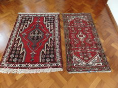 A couple of Persian, Hamadan rugs, approx. 138 x 106 cm and 150 x 75 cm