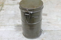 Gas mask canister with content, German. Filterbus has been emptied and rusted through in places