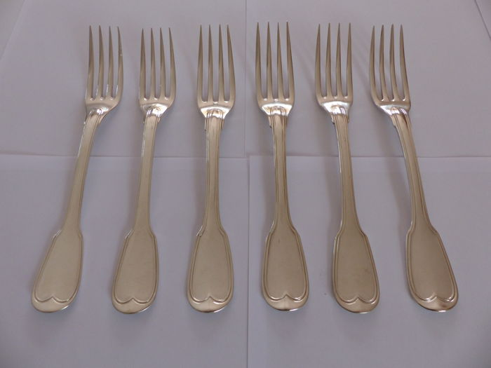 6 Sterling Silver table forks. Filigree Model 20th century