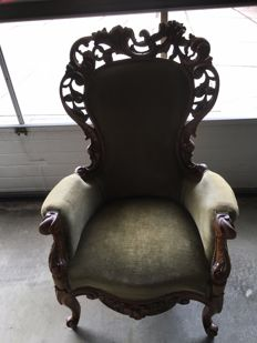 Voltaire chair mahogany with openwork crest, early 20th century