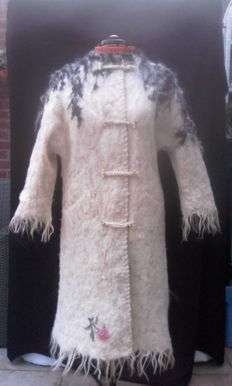 Felted long handmade coat of Merino wool