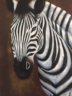 Acrylic painting on canvas, signed, African Zebra - M.Doumbia
