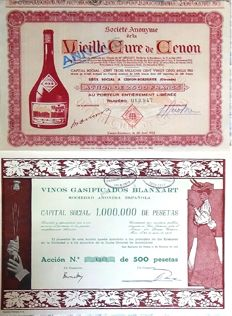 Old shares of Spanish and French wines - 1916-1952