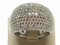 Diamond pave ring 5,02ct. - 18K / 750 white gold - Ring size BE 56 / NL 17,75mm