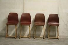 Pagholz - set of four plywood school chairs