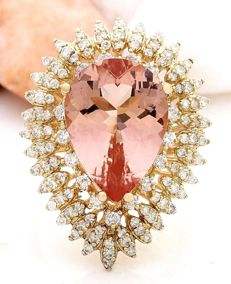 **NO RESERVE**-Axclusive-12.28carat Natural Morganite And Diamond Ring In 14K Yellow Gold-Free shipping !!!