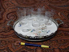 Beautiful ceramic tray with metal edge with cut glass lemonade glasses