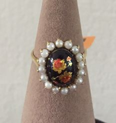 18k gold email d'art hand painted flowers 16 cultivated  pearls estate ring - Size : 18