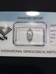 Natural diamond 1.01 ct - marquise - SI2 / K