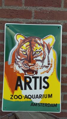 Enamel Artis zoo - aquarium Amsterdam advertising sign - sign - 20th century